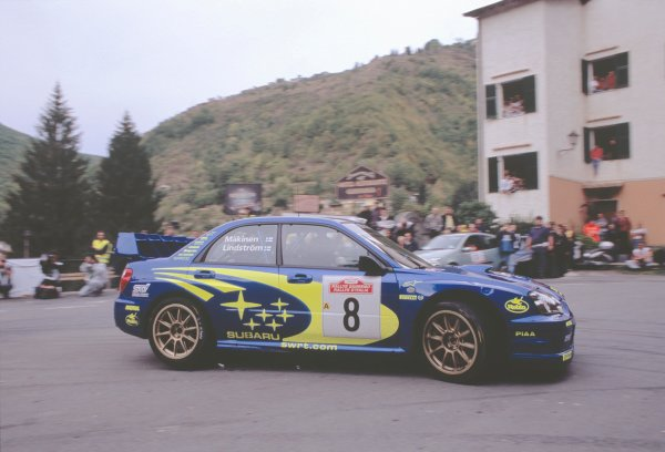 2003 World Rally ChampionshipRally of San Remo, Italy. 2nd - 5th October 2003.Tommi Makinen / Kaj Lindstrom, Subaru Impreza WRC 2003. Taking Hairpin. from Inside. Action.World Copyright: McKLEIN/LATref: 35mm Image WRCSANREMO01 jpg