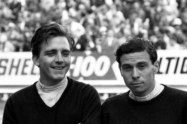 Trevor Taylor(GBR) left, and Jim Clark(GBR) Team Lotus