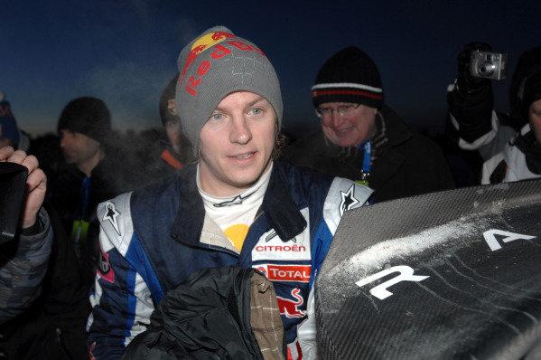 Kimi Raikkonen (FIN) after stage 7. World Rally Championship, Rd1, Rally Sweden, Karlstad, Sweden, Day 1, Friday February 12, 2010.