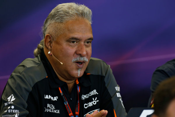 Circuit of the Americas, Austin, Texas, United States of America.  Friday 23 October 2015. Vijay Mallya, Team Principal and Managing Director, Force India, in the Team Principal Press Conference. World Copyright: Andrew Ferraro/LAT Photographic ref: Digital Image _FER6380