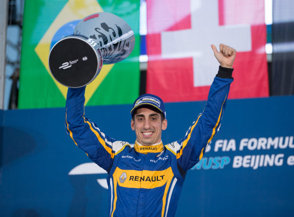 FIA Formula E Championship 2015/16. Beijing ePrix, Beijing, China. Race Sebastien Buemi, RENAULT E.DAMS on the podium Beijing, China, Asia. Saturday 24 October 2015 Photo:  / LAT / FE ref: Digital Image _L2_4353