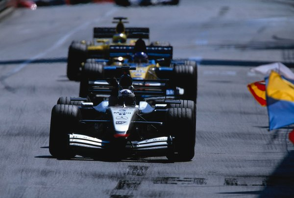 2002 Monaco Grand Prix.Monte Carlo, Monaco. 23-26 May 2002.David Coulthard (McLaren MP4/17 Mercedes) celebrates his 1st position and first win of the season. Ref-02 MON 32.World Copyright - LAT Photographic