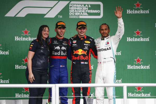 Pierre Gasly, Toro Rosso, Race winner Max Verstappen, Red Bull Racing and Lewis Hamilton, Mercedes AMG F1 celebrate on the podium