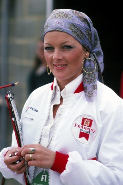 Beverley Jones, wife of Alan Jones (AUS) Hill. British Grand Prix, Rd 10, Silverstone, England, 19 July 1975.
