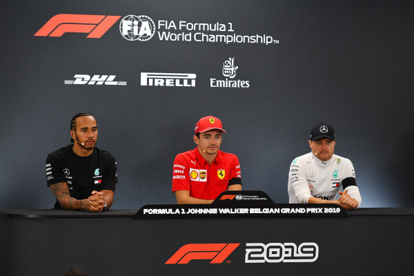 Winner Charles Leclerc, Ferrari, in the post-race press conference with Lewis Hamilton, Mercedes AMG F1 and Valtteri Bottas, Mercedes AMG F1