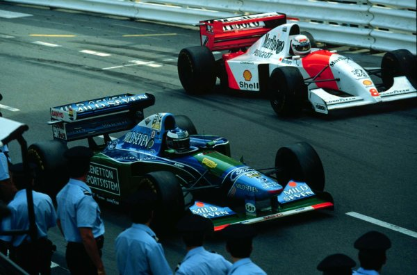 1994 Monaco Grand Prix.Monte Carlo, Monaco.12-15 May 1994.Michael Schumacher (Benetton B194 Ford) and Martin Brundle (McLaren MP4/9 Peugeot) finished in 1st and 2nd positions respectively.World Copyright - LAT Photographicschumacherhistory
