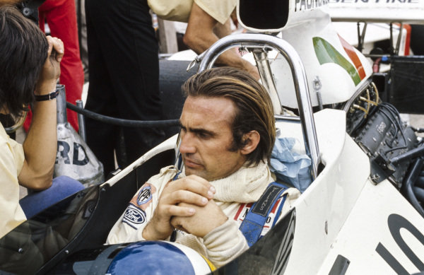 Carlos Reutemann sits in the cockpit of his Brabham BT42 Ford.