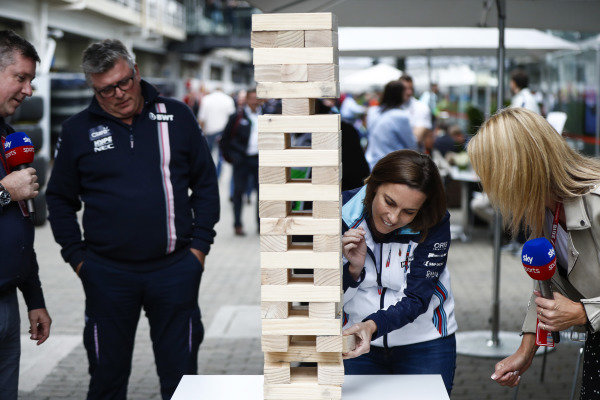 Claire Williams, Deputy Team Principal, Williams Racing, takes on Otmar Szafnauer, Team Principal, Racing Point Force India, in a giant Jenga game with Rachel Brookes, Sky Sports F1, reporting