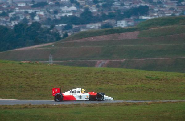 1991 Brazilian Grand Prix.Interlagos, Sao Paulo, Brazil.22-24 March 1991.Ayrton Senna (McLaren MP4/6 Honda) 1st position.Ref-91 BRA 07.World Copyright - LAT Photographic