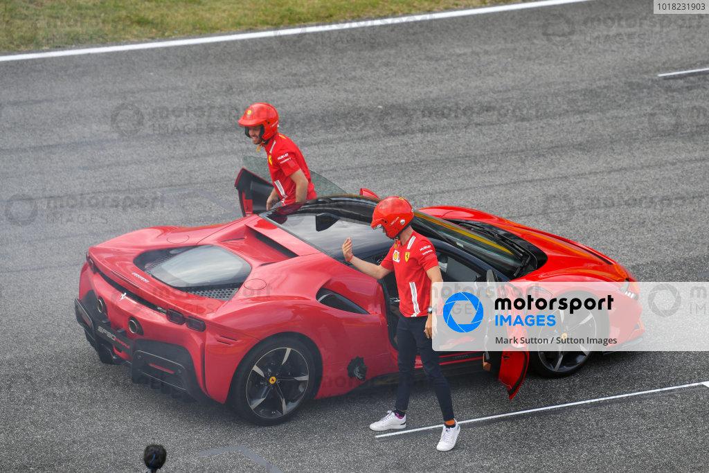 Sebastian Vettel, Ferrari, drives a SF90 Stradale