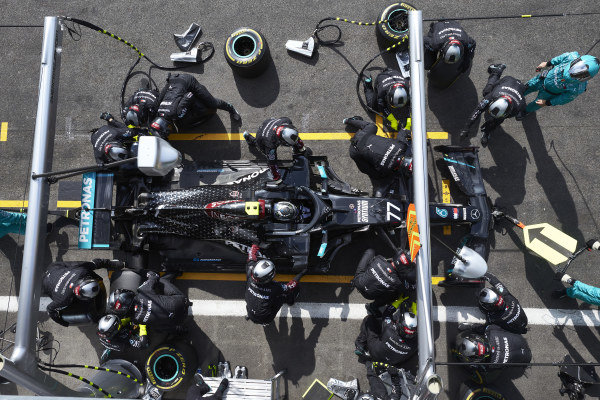 Valtteri Bottas, Mercedes F1 W11 EQ Performance comes in for a pit stop