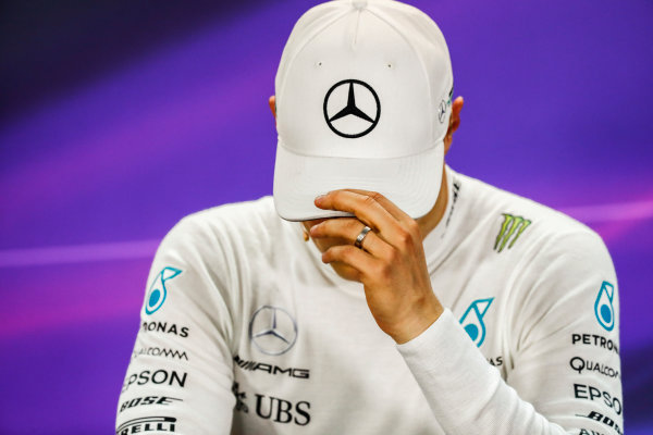Bahrain International Circuit, Sakhir, Bahrain.  Sunday 16 April 2017. Valtteri Bottas, Mercedes AMG, 3rd Position, in the Press Conference. World Copyright: Sam Bloxham/LAT Images ref: Digital Image _J6I2493