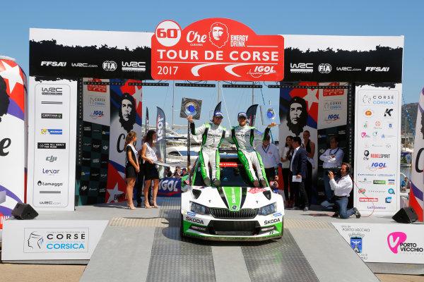 2017 FIA World Rally Championship, Round 04, Rallye de France, Tour de Corse, April 06-09, 2017, Andreas Mikkelsen, Skoda, podium Worldwide Copyright: McKlein/LAT