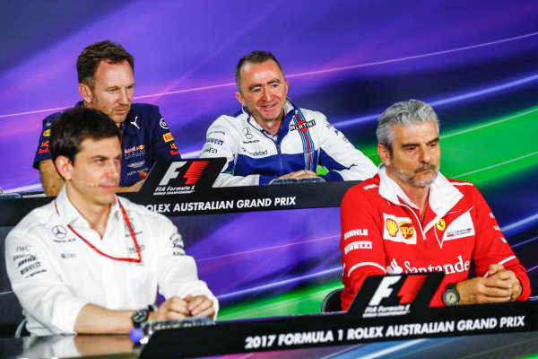 Albert Park, Melbourne, Australia. Friday 24 March 2017. Toto Wolff, Executive Director (Business), Mercedes AMG, Christian Horner, Team Principal, Red Bull Racing, Paddy Lowe, Williams Martini Racing Formula 1, and Maurizio Arrivabene, Team Principal, Ferrari, in the Team Principals Press Conference. World Copyright: Sam Bloxham/LAT Images ref: Digital Image _J6I1847