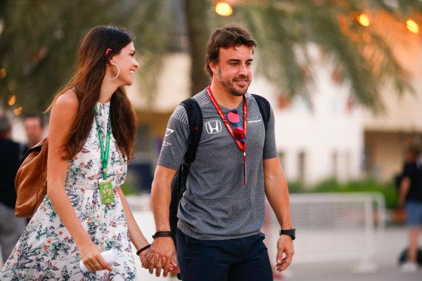 Bahrain International Circuit, Sakhir, Bahrain.  Thursday 13 April 2017. Fernando Alonso, McLaren, in the paddock with girlfriend Linda Morselli. World Copyright: Andy Hone/LAT Images ref: Digital Image _ONZ7275