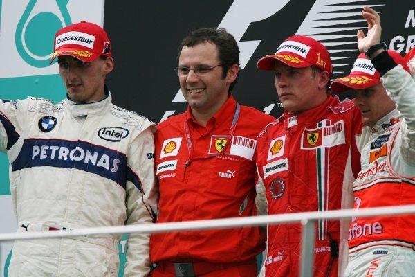 The podium (L to R): Robert Kubica (POL) BMW Sauber F1, second; Stefano Domenicali (ITA) Ferrari Manager of F1 Operations; Kimi Raikkonen (FIN) Ferrari, race winner; Heikki Kovalainen (FIN) McLaren, third. Malaysian Grand Prix, Rd 2, Race, Sepang, Malaysia, Sunday 23 March 2008.
