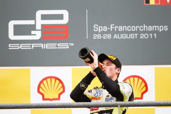Round 7. Spa-Francorchamps, Spa Belgium. 28th August 2011. Sunday Race.  Richie Stanaway, (NZL, Lotus ART) celebrates victory on the podium.  Portrait.  Photo: Andrew Ferraro/GP3 Media Service.   ref: Digital Image _Q0C1729