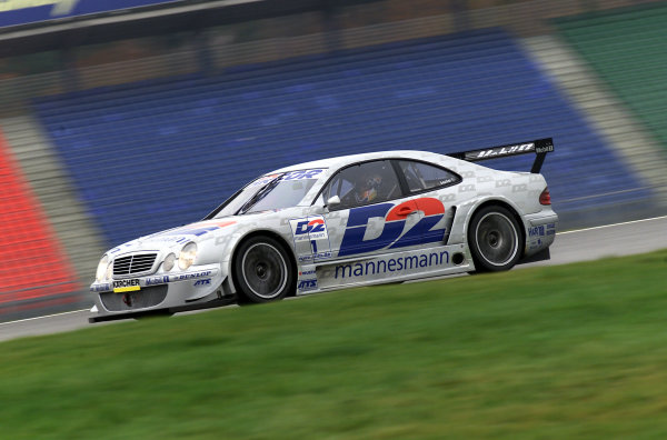 Hockenheim, Germany. 17th  November 2000Motorbike star Ralf Waldmann tests a Mercedes-Benz CLK DTM car. After 20 laps on the short track of the Hockenheimring, Ralf Waldmann was very impressed: ÒSuper, I can handle the car quite well, although the conditions on the track (wet and slippery track), especially at the beginning of the test werenÕt perfect. The CLK is great fun to drive and easy to control. It is definitely a big advantage that you donÕt fall when the wheels lock up. IÕm delighted that Mercedes has kept its promise and has allowed me to try such a car. However, this test should be seen as a unique occasion, and not as a definite indication for the future.