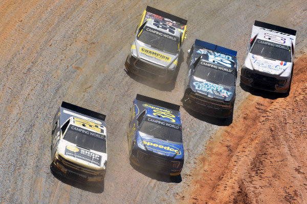 #2: Sheldon Creed, GMS Racing, Chevrolet Silverado Chevy Accessories and #38: Todd Gilliland, Front Row Motorsports, Ford F-150 Speedco