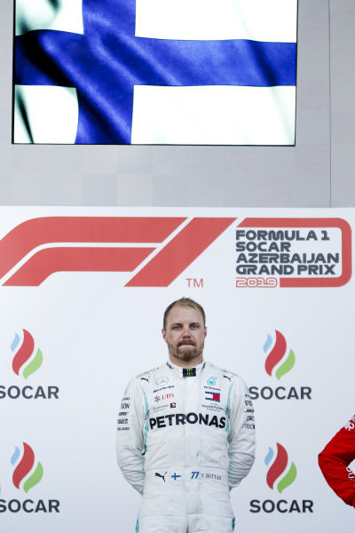 Race Winner Valtteri Bottas, Mercedes AMG F1 on the podium