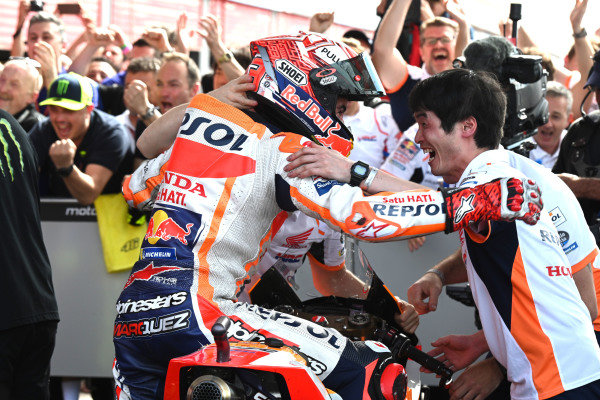 Race winner Marc Marquez, Repsol Honda Team celebrates in parc ferme.