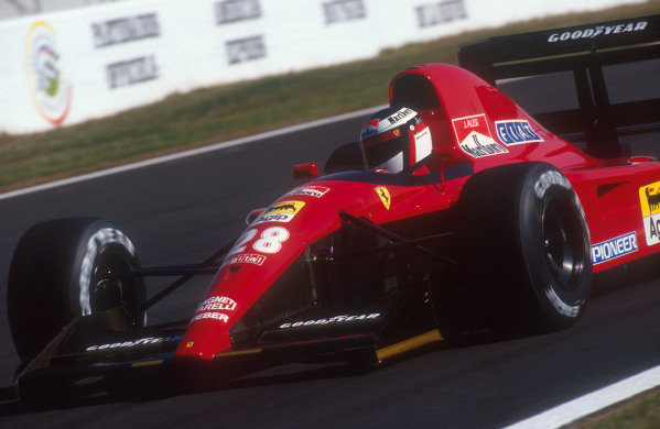1991 French Grand Prix.Magny-Cours, France.5-7 July 1991.Jean Alesi (Ferrari 643) 4th position.Ref-91 FRA 14.World Copyright - LAT Photographic