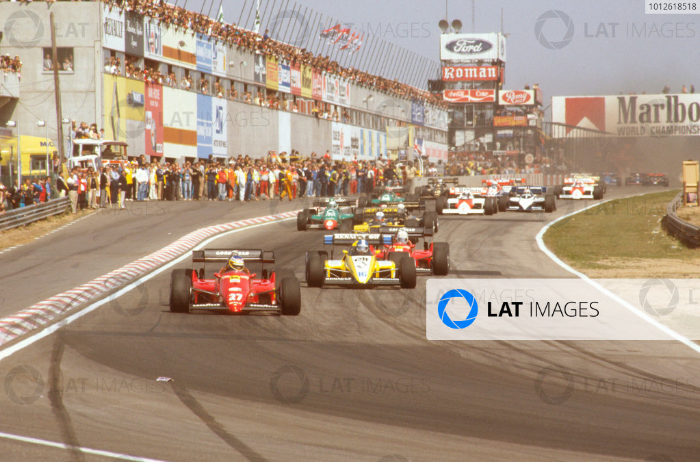 Zolder, Belgium.27-29 April 1984.Michele Alboreto (Ferrari 126C4) leads Derek Warwick (Renault RE50) and Rene Arnoux (Ferrari 126C4) at the start.Ref-84 BEL 03.World Copyright - LAT Photographic