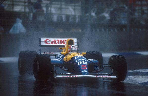 1991 Australian Grand Prix.Adelaide, Australia.1-3 November 1991.Nigel Mansell (Williams FW14 Renault) 2nd position.Ref-91 AUS 06.World Copyright - LAT Photographic
