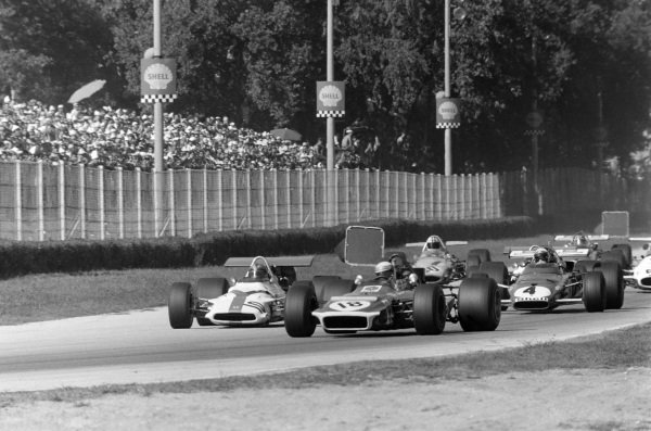 Jackie Stewart, March 701 Ford leads Pedro Rodriguez, BRM P153 and Clay Regazzoni, Ferrari 312B.