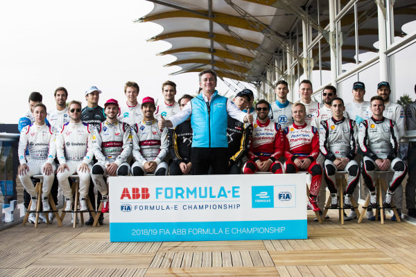 Alejandro Agag, CEO, Formula E with the 2018/19 season drivers