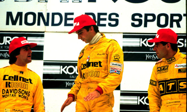 Spa-Francorchamps, Belgium. Damon Hill, Martin Donnelly and Roland Ratzenberger after finishing in 1st, 2nd and 3rd positions respectively.World - LAT Photographic