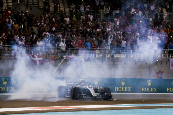 Lewis Hamilton, Mercedes AMG F1 W09 EQ Power+, 1st position, performs donuts after winning the race