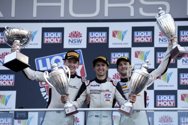 Podium: Race winner #912 EBM Porsche 911 GT3-R: Dirk Werner, Dennis Olsen, Matt Campbell.