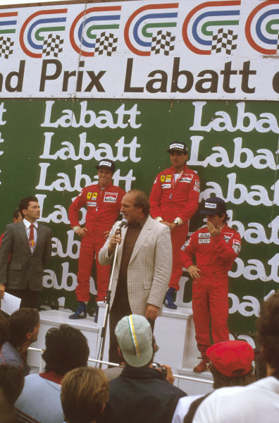 Montreal, Quebec, Canada.14-16 June 1985.Michele Alboreto (Ferrari) 1st position, Stefan Johansson (Ferrari) 2nd position and Alain Prost (McLaren TAG Porsche) 3rd position on the podium.Ref-85 CAN 07.World Copyright - LAT Photographic