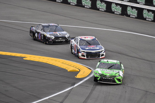 #18: Kyle Busch, Joe Gibbs Racing, Toyota Camry Interstate Batteries, #99: Daniel Suarez, TrackHouse Racing, Chevrolet Camaro iFly, and #4: Kevin Harvick, Stewart-Haas Racing, Ford Mustang Mobil 1