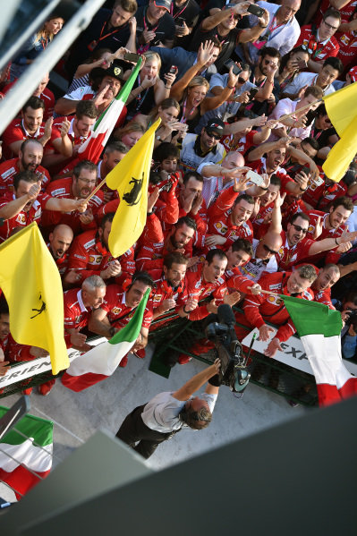 Ferrari celebrate at Formula One World Championship, Rd1, Australian Grand Prix, Race, Albert Park, Melbourne, Australia, Sunday 26 March 2017.