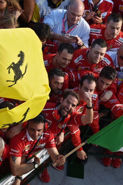 Ferrari celebrates in parc ferme at Formula One World Championship, Rd1, Australian Grand Prix, Race, Albert Park, Melbourne, Australia, Sunday 26 March 2017.