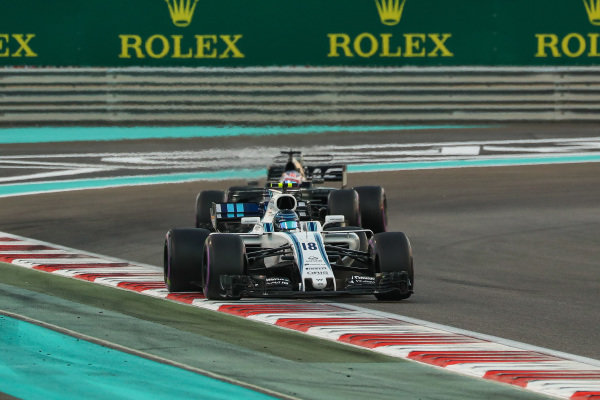 Lance Stroll (CDN) Williams FW40 at Formula One World Championship, Rd20, Abu Dhabi Grand Prix, Race, Yas Marina Circuit, Abu Dhabi, UAE, Sunday 26 November 2017.