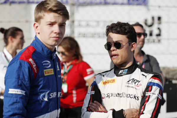 F2 champion Nyck De Vries (NLD, ART GRAND PRIX), and F3 champion Robert Shwartzman (RUS) PREMA Racing