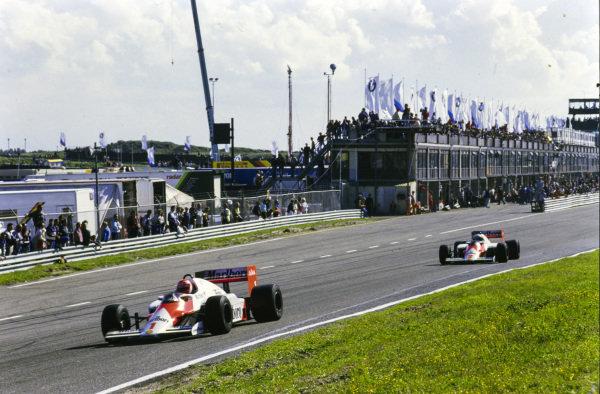 Niki Lauda, McLaren MP4-2B TAG, leads Alain Prost, McLaren MP4-2B TAG.