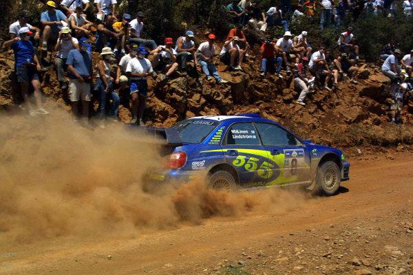 Tommi Makinen in action in the Subaru Impreza WRC03, Acropolis Rally 2003.Photo: McKlein/LAT