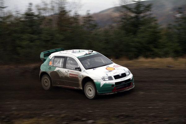 2003 FIA World Rally Champs. Round fourteen Wales Rally GB 6th-9th November 2003.Didier Auriol, Skoda, ActionWorld Copyright: McKlein/LAT