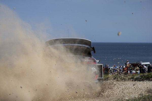 Elfyn Evans kicks up the stones on Rally d'Italia Sardinia