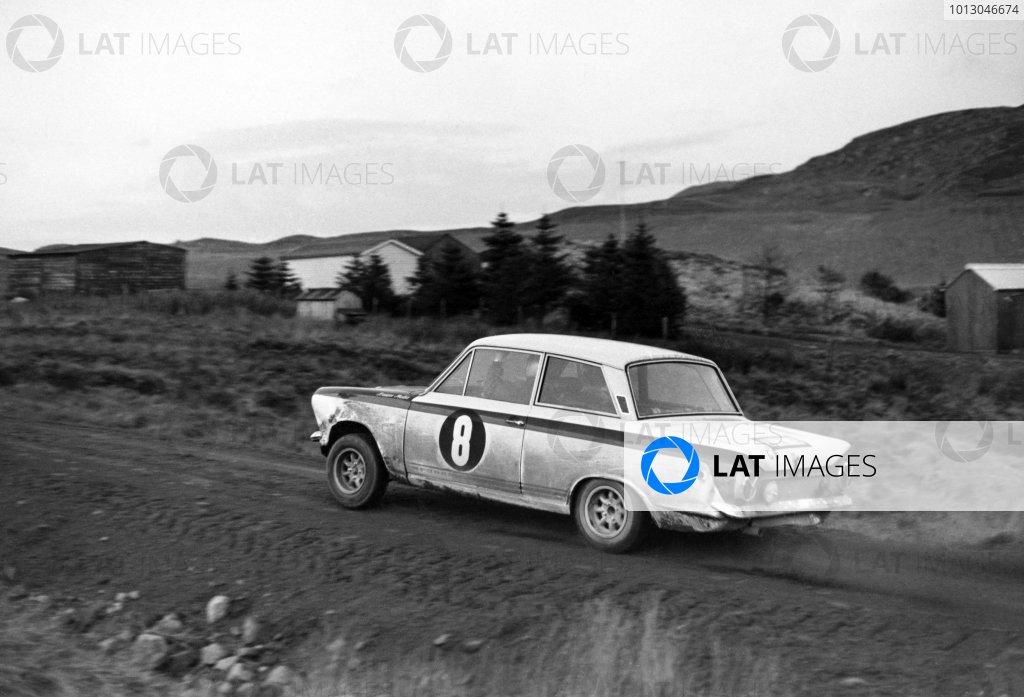 1966 RAC Rally. Great Britain. Jim Clark, Lotus Cortina Mk1. World Copyright: LAT Photographic Ref: Autocar b&w print