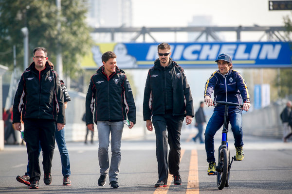 FIA Formula E Championship 2015/16. Beijing ePrix, Beijing, China. Track Walk. Loic Duval (FRA), Dragon Racing - Venturi VM200-FE-01, Nicolas Prost (FRA), Renault e.Dams Z.E.15. Beijing, China, Asia. Friday 23 October 2015 Photo: Adam Warner / LAT / FE ref: Digital Image _L5R0042