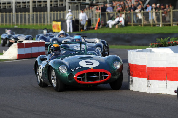 2015 Goodwood Revival Meeting Goodwood Estate, West Sussex, England 11th - 13th September 2015 Sussex Trophy Andy Newall Aston Martin DBR1 World Copyright : Jeff Bloxham/LAT Photographic Ref : Digital Image DSC_1289