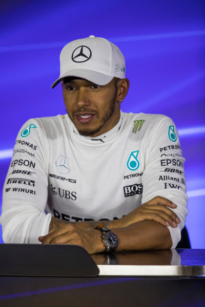 Autodromo Hermanos Rodriguez, Mexico City, Mexico. Saturday 28 October 2017. Lewis Hamilton, Mercedes AMG, in the post qualifying Press Conference. World Copyright: Sam Bloxham/LAT Images  ref: Digital Image _W6I0495