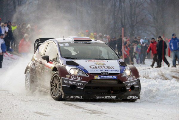 Evgeny Novikov (RUS) and Ilka Minor (AUT), Ford Fiesta RS WRC on stage 2. FIA World Rally Championship, Rd1, Rally Monte Carlo, Day One, Monte Carlo, 16 January 2013.