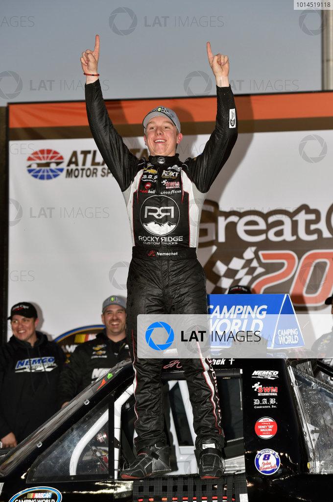 26-27 February 2016, Hampton, Georgia USA John Hunter Nemechek celebrates his win in Victory Lane ? 2016, Nigel Kinrade LAT Photo USA