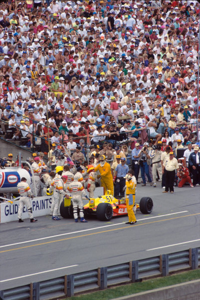 1991 Indianapolis 500. Indianapolis Motor Speedway, Indiana, USA. 26th May 1991. Gary Bettenhausen (Lola T9100-Buick), retired, in the pit lane, action. World Copyright: Bill Murenbeeld/LAT Photographic.